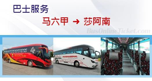 从马六甲通往莎阿南的巴士服务
